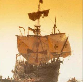 Carabelas de Cristóbal Colón llegando al Nuevo Mundo