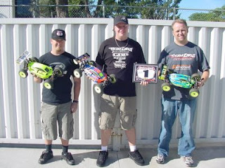 Losi drivers Kevin Gahan, Adam Drake and Todd Hodge with their 8IGHT-E Buggies equipped with Xcelorin Brushless Systems