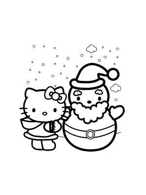 Disegni da colorare di hello kitty versione natalizia - Kitty noel coloriage ...