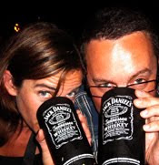 karen and matt enjoying a jd and cola
