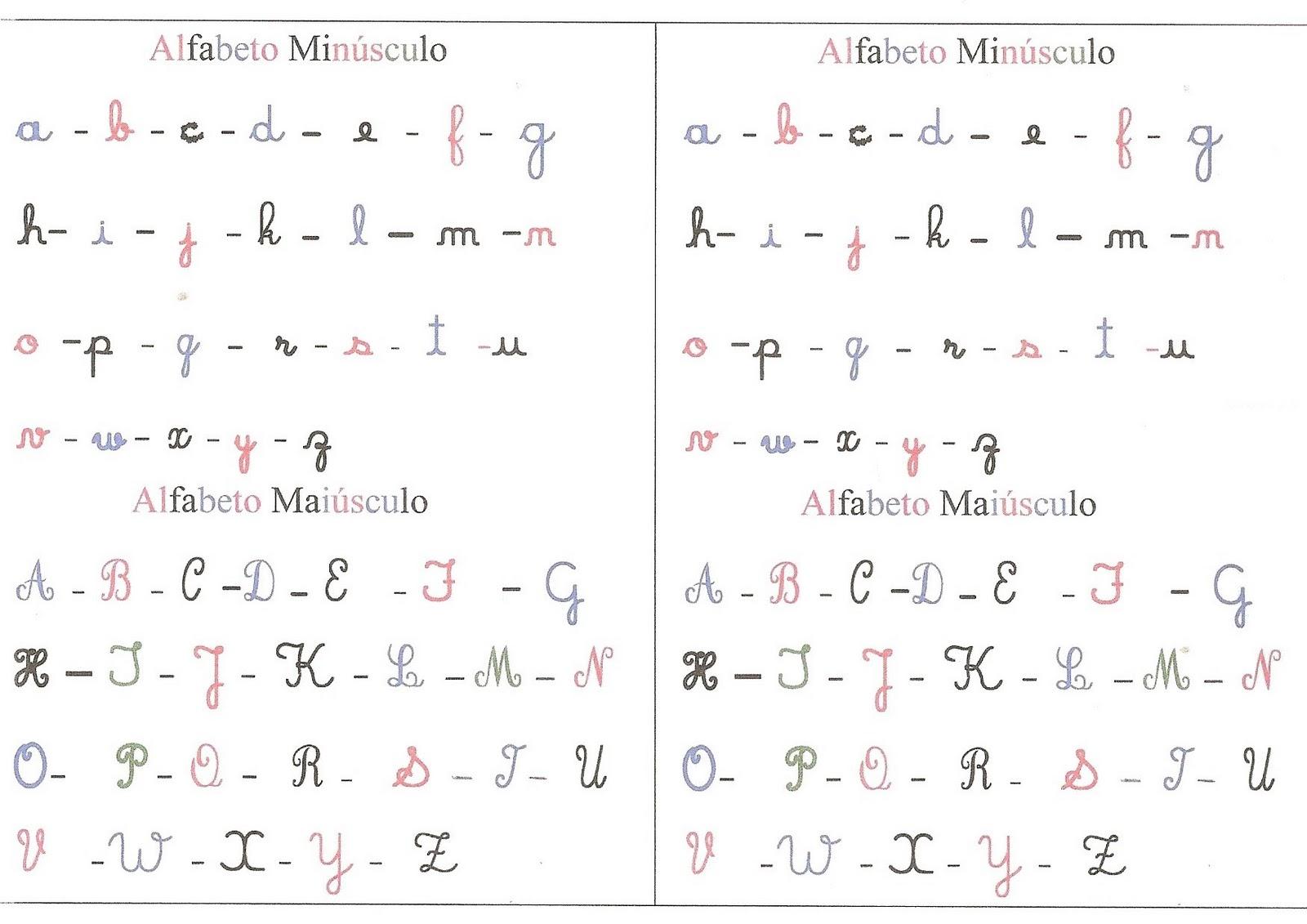 alfabeto cursivo maiusculo e minusculo