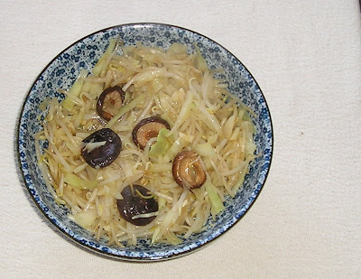 Cabbage and Bean Sprouts with Shiitakes