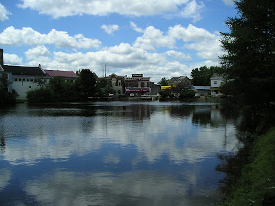 Looking towards the main street of Ayr over the pond