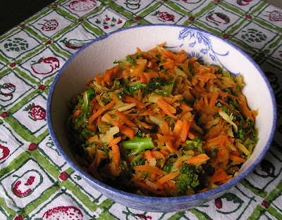 Broccoli Stem, Cabbage & Carrot Stir-Fry: a way to use up those less-than-popular broccoli stems