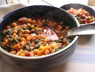 Chickpeas (Garbanzos) with Greens & Tomatoes, Greek Style
