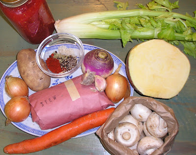 The raw ingredients for a big pot of stew