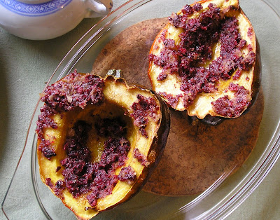 Acorn Squash with Cranberry Ginger Butter