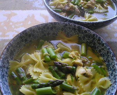 Pasta with Chicken and Asparagus in Saffron-Chive Broth