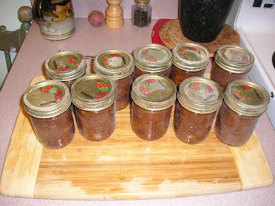 The Finished Jars of Chutney