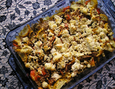 Zucchini & Peppers Roasted with Barley & Cheese