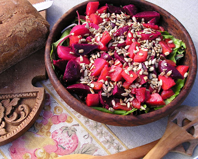 Beet and Dried Apricot Salad with Sunflower Seeds