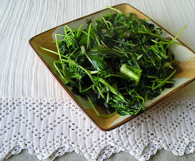 Pea Shoots and Onion Greens