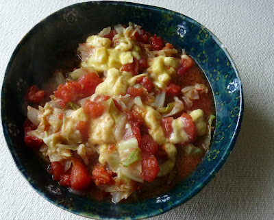 Cabbage and Cheese Curds with Tomato and Tamari