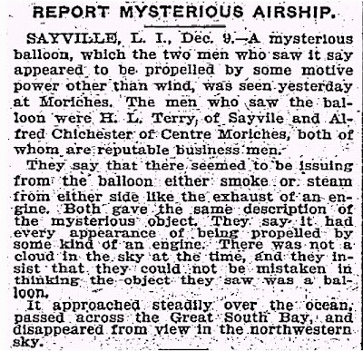 Report Mysterios Airship - New York Times 12-10-1901