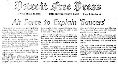 Air Force To Explain Saucers - Detroit Free Press 3 25-1966