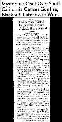Mysterious Craft Over South California - The Greely Daily Tribune 2-25-1942