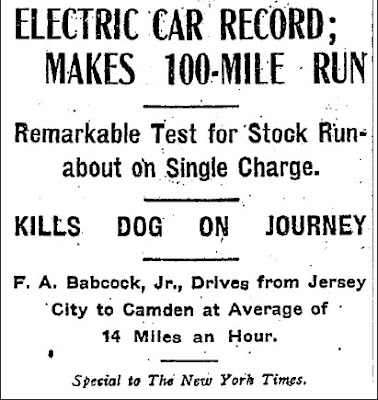 Electric Car Record (Heading) - New York Times 10-13-1906