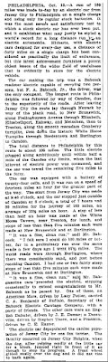 Electric Car Record (Body) - New York Times 10-13-1906