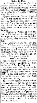 Sky Objects Startle Many - Tucson Daily 11-9-1951 (B)