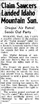 Claim Saucers Landed Idaho Mountain Sun - Arizona Daily Sun 7-7-1947