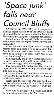 Space Junk Falls Near Council Bluff - Cedar Rapids Gazette 12-20-1977