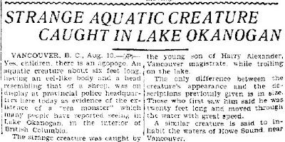 Strange Aquatic Creature Caught in Lake Okonagan - Reno Evening Gazette 8-10-1928