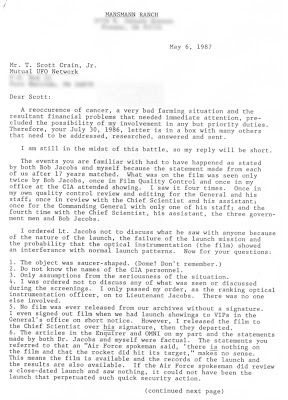 Mansmann's May 6, 1987 letter to T. Scott Crain (1 Edt)
