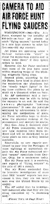Camera To Aid Air Force Hunt Flying Saucers - Daily Herald 7-29-1952