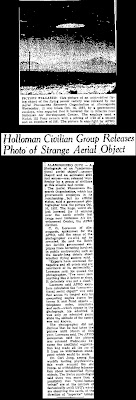 Holloman Civilian Group Releases Photoof Strange Aerial Object - Albuquerque Journal 7-31-1958
