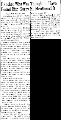 Rancher Who Was Thought To Have Found Disc - Las Cruces Sun-News 7-10-1947