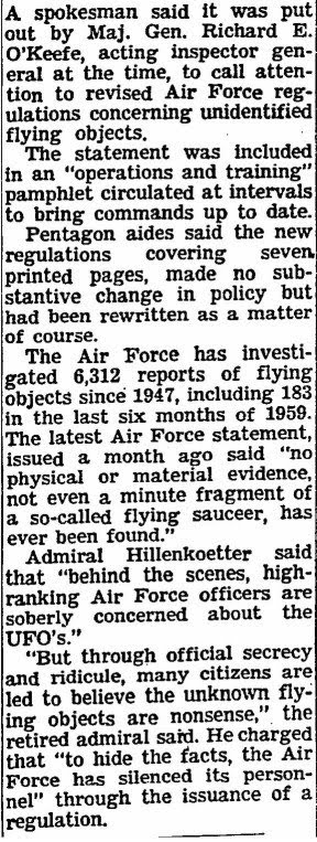 Air Force On Saucers Cited - New York Times - 2-28-1960 (B)