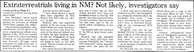 ETs Living in New Mexico Not Likely Investigators Say (B) - Santa Fe New Mexican 9-11-1988