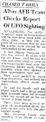 Altus AFB Team Checks Report of UFO Sighting - Avalanche-Journal 3-25-1967