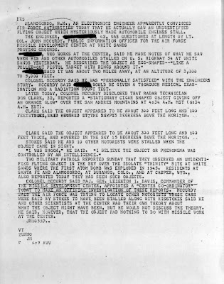 Report of UFO Near Missile Development Center; Car Engines Die (2) 11-5-1957