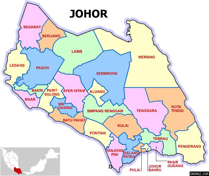 Lokasi Kota Tinggi Dalam Peta Negeri Johor