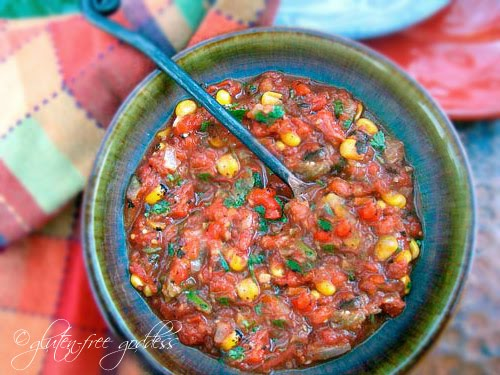 Roasted vegetable salsa recipe that is easy and gluten free and vegan