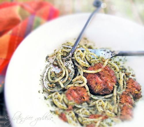 Gluten-free Italian meatballs recipe with pesto rice pasta