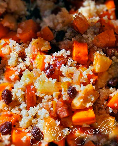Close up of quinoa stuffing