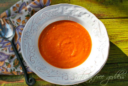 Vegan sweet potato soup with ginger