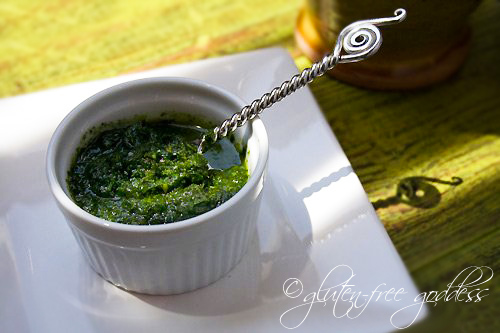 Vegan and gluten free raw pesto