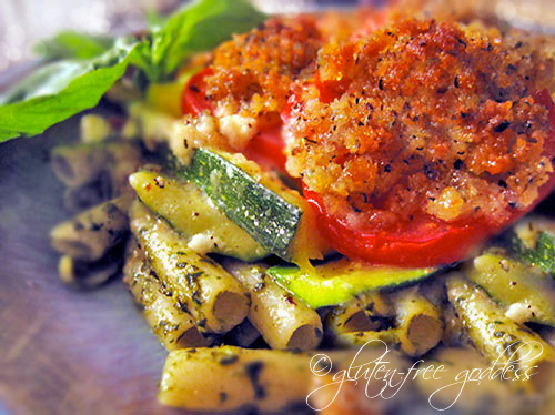 Pesto zucchini gratin with gluten-free bread crumbs