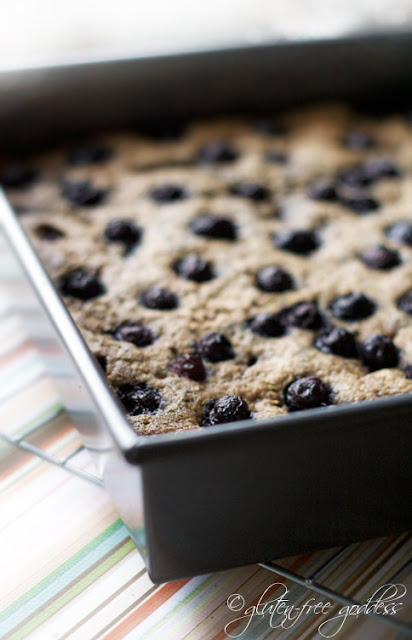 Quinoa breakfast bars with blueberries are gluten free
