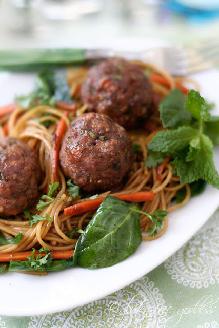 Asian style turkey meatballs with noodles