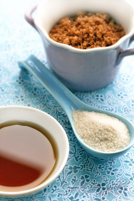 Three alternatives to refined white sugar in vegan baking: raw agave nectar, organic brown sugar crystals and unrefined organic cane sugar