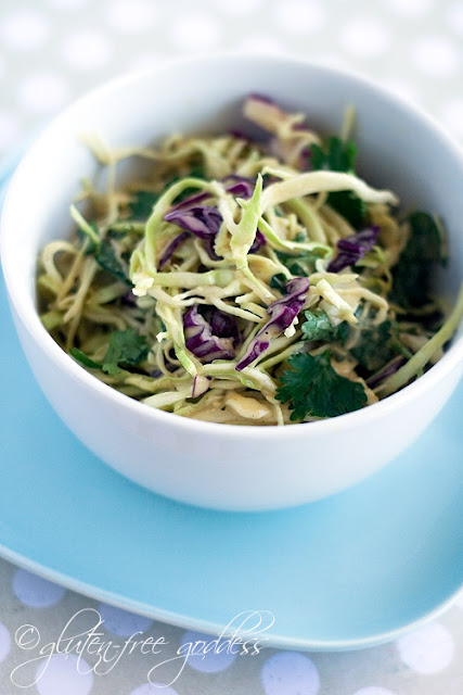 Easy coleslaw recipe with peanut dressing that is dairy-free, vegan and gluten-free