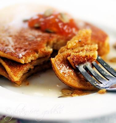 A bite of gluten-free pumpkin pancake goodness