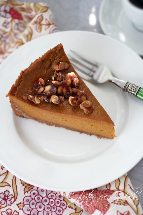 Gluten-free pumpkin pie with praline and coconut-pecan crust.