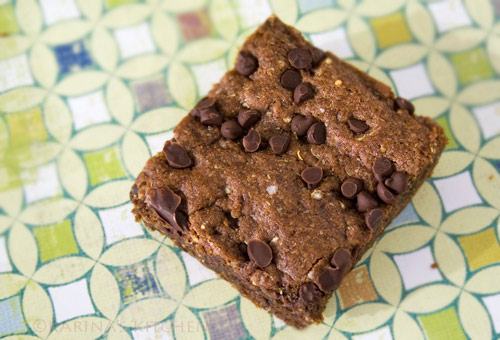 Gluten free vegan chocolate brownie with quinoa flakes