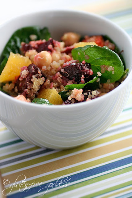 Quinoa salad with roasted beets and orange