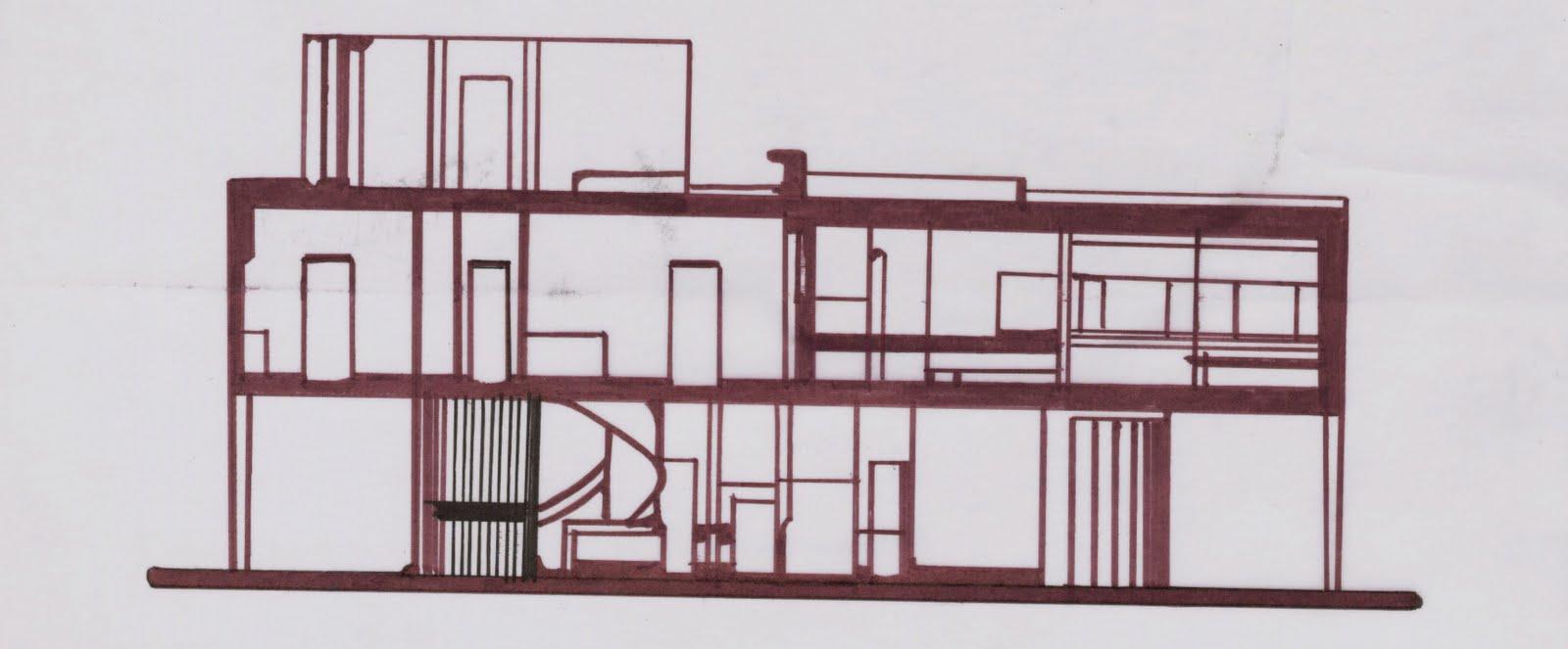Villa Savoye Section Cut Section b  poche  section cVilla Savoye Section